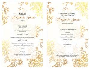 wedding vow renewal ceremony program free gold floral vow renewal invitation