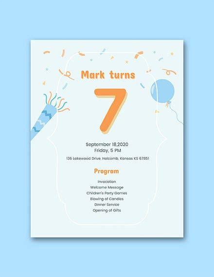 birthday program templates  psd  premium
