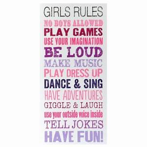 girls rules wall art kirkland39s back to school kids With 3 basic rules in teenage bedroom ideas