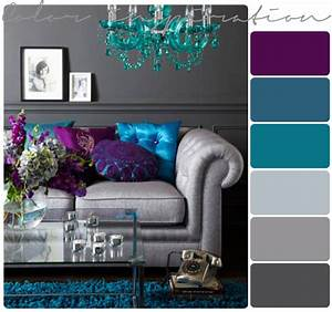 Purple gray turquoise and purple on pinterest for Grey color schemes for living room