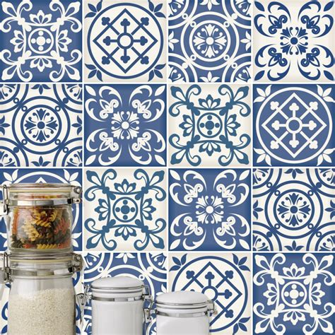 ceramic murals kitchen traditional blue tiles pack of 32
