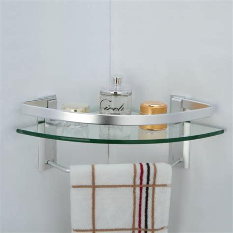 Glass Bathroom Shelves With Towel Rack by Kes Aluminum Bathroom Glass Corner Shelf With Towel Bar