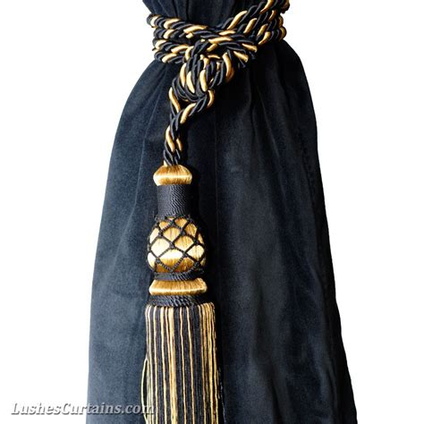 black and gold curtain tie backs gold window treatments