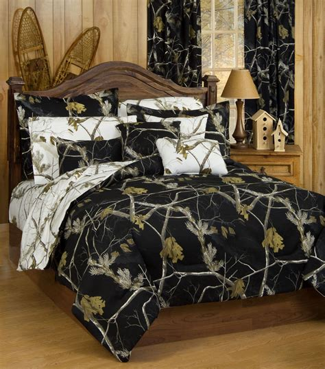 37366 camo bed set new realtree ap black white snow reversible camo
