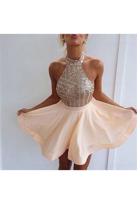 halter sequins short backless homecoming cocktail prom