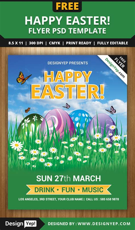 happy easter flyer psd template designyep