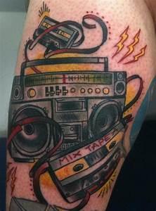 Coloured crazy boombox tattoo - TattooMagz