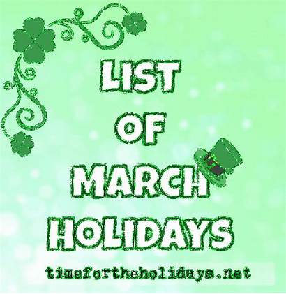 Holidays March Observances Monthly Daily Traditional