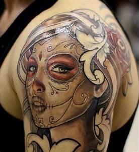 Tete De Mort Mexicaine Femme : 1001 id es tatouage t te de mort mexicaine qui vivra ~ Melissatoandfro.com Idées de Décoration