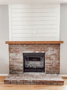 How, To, Build, A, Diy, Brick, Fireplace, Hearth, With, A, Shiplap, Accent, Wall, U0026, Rustic, Wood, Beam, Mantle