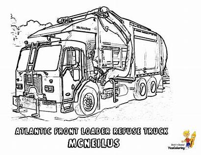 Coloring Truck Garbage Trucks Pages Construction Duty