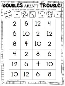 Freebielicious Doubles Aren't Trouble!  1st Grade  Math, Math Games, Math Facts