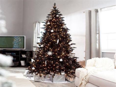 White Christmas Tree With Black Decorations, Black