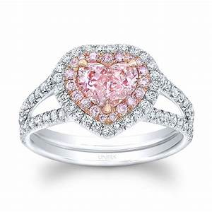 Uneek heart shaped fancy orange pink diamond ring with for Pink diamond wedding rings
