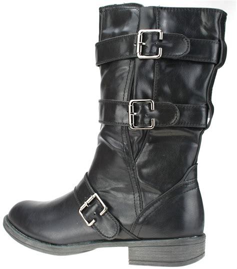 ladies biker boots ladies cowboy brown biker boots faux leather zip sizes 3 4
