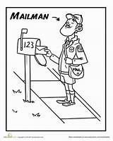 Mailman Coloring Preschool Pages Community Office Worksheet Helpers Craft Crafts Toddlers Google Carrier Postal Children Education Does sketch template