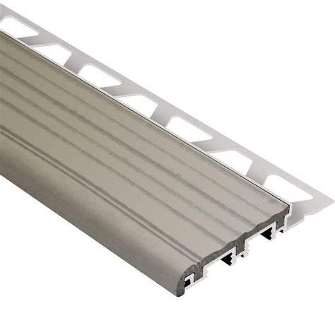 Metal Stair Nosing For Tile by Schluter Trep B Aluminum With Grey Insert 1 2 In X 8 Ft