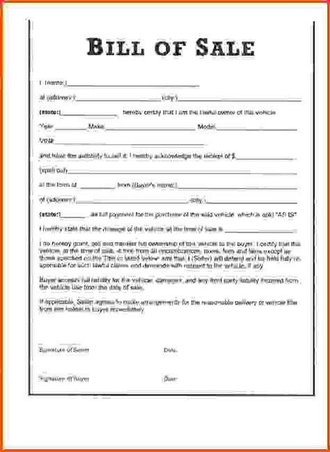 Sle Bill Of Sale Florida by Florida Bill Of Sale 1 Car Bill Of Sale Printable Jpg