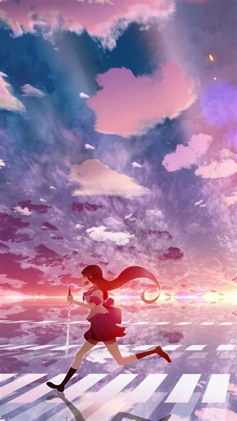 wallpaper  girl anime sky running