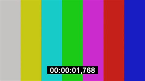 color tv tv color bars with counting seconds motion background