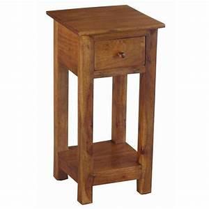 Acacia, Wood, Tall, Thin, Side, Table