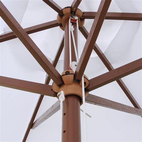 ft  ribs patio wood umbrella wooden pole outdoor garden