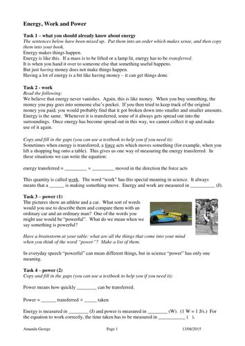 energy work and power task sheet by pand teaching resources