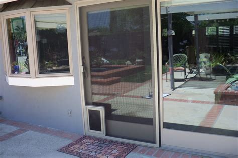 heavy duty patio screen door with pet door in calabasas mobile screen service