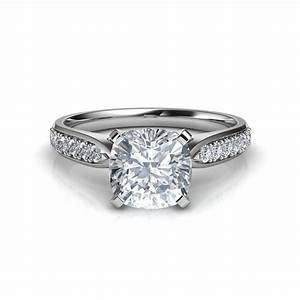145 carat tapered cathedral cushion cut diamond With cathedral wedding ring