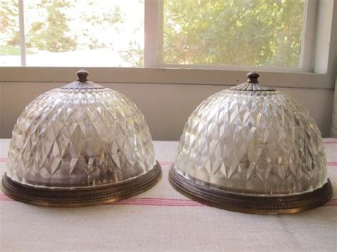 pair of deco ceiling lights flush mount ceiling fixture clear glass domes cut