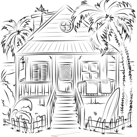 beach house coloring page  printable coloring pages