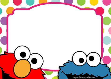 Cookie Invitation Template by Sesame Birthday Invitation Template Free
