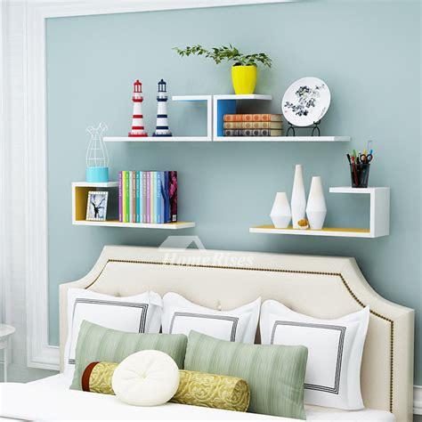 Bedroom Shelves by Wooden Wall Shelves Rectangular White Hanging Storage Bedroom