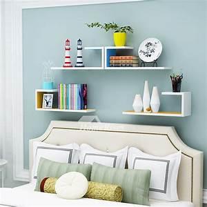 Wooden, Wall, Shelves, Rectangular, White, Hanging, Storage, Bedroom