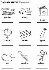 Objects Classroom English Lessons Pages Coloring Children Lesson Worksheets Vocabulary Things Class Esl Printable Colouring Preschool Activities Colours Es Learning sketch template