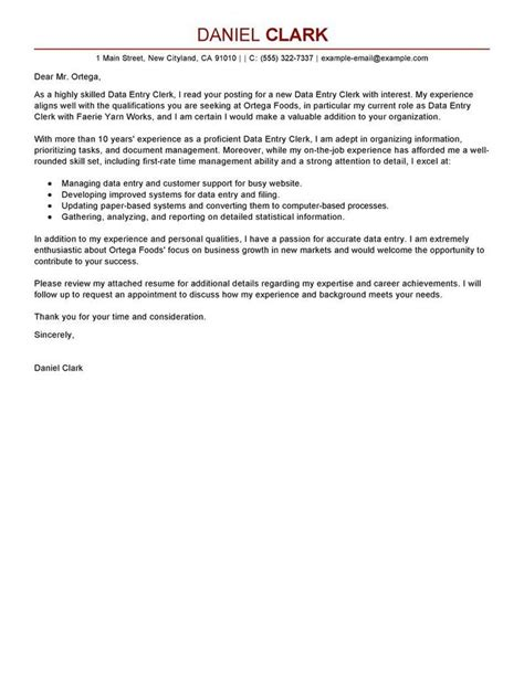 Employment Objective Or Cover Letter by Data Entry Clerk Cover Letter Sle Office Tutorials