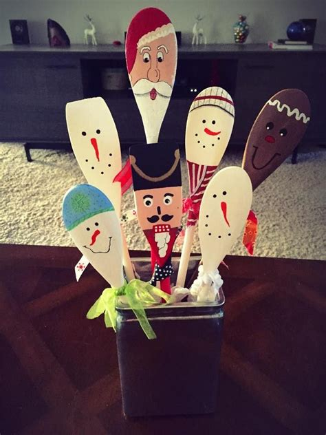 painted holiday wooden spoons diy christmas decorations