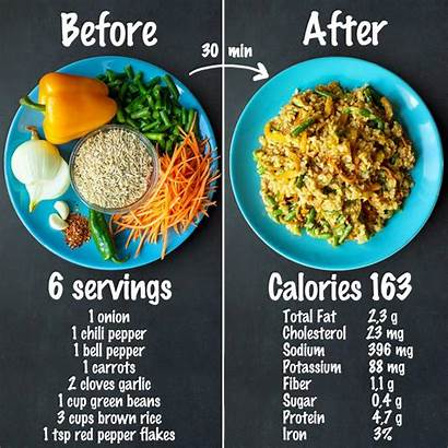 Rice Brown Vegetable Fried Ingredients Recipe Nutrition