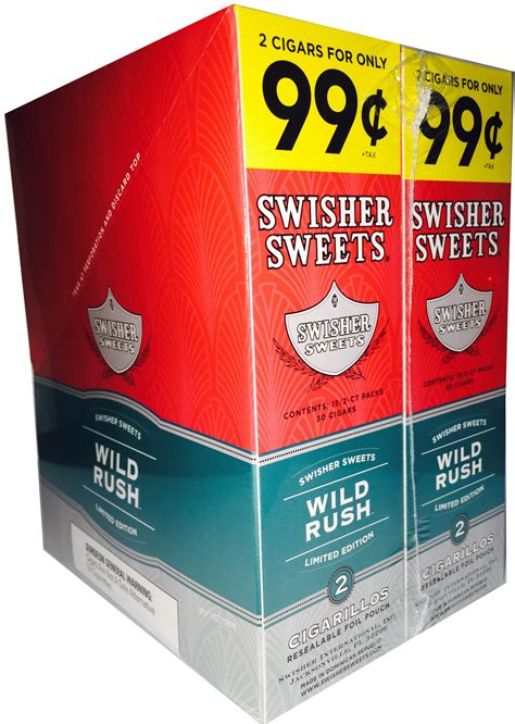 Swisher Sweets Cigarillos Foil Pack Wild Rush Pre-Priced ...