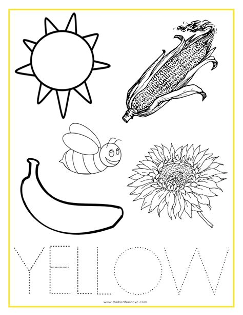 yellow coloring page printable color