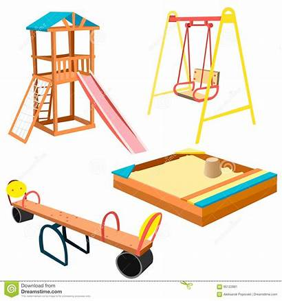 Playground Swings Equipment Slides Cartoon Clipart Children