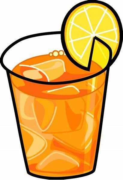 Tea Iced Clip Clipart Ice Beverage Lemon