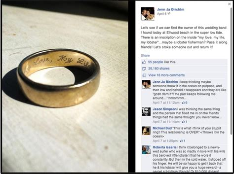 men vs loose wedding rings and a facebook feel good story