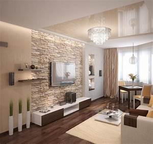 Wohnzimmer Einrichten Brauntöne : wohnzimmer modern einrichten beige warm natursteinwand ~ Watch28wear.com Haus und Dekorationen