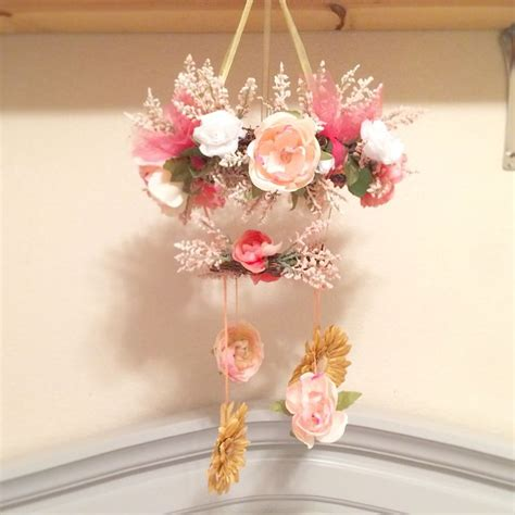 picture of diy floral mobile flower mobile for baby girl floral nursery in peach gold gray and white diy crib mobile