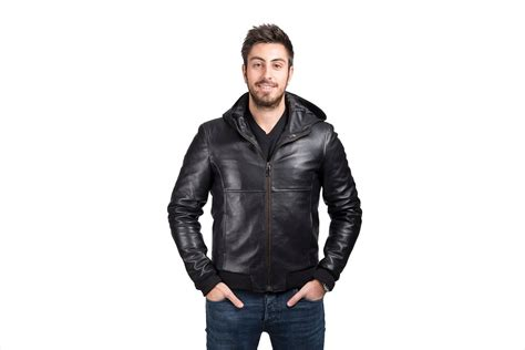 Hooded Leather Jacket For Men, Black Lambskin, Made In Italy