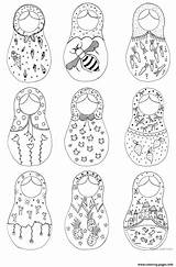 Dolls Matryoshka Nesting Coloring Russian Doll Printable Drawing Colouring Paper Sketch Crafts Template Toys Kokeshi Russia Tattoo Diy Worksheet Craft sketch template