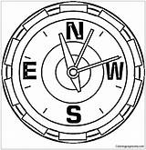 Compass Coloring Clock North Drawing Pole Printable Showing Seasons Tags Coloringpagesonly sketch template