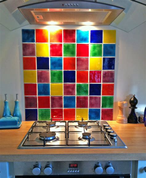 glass on glass multi colour tile splashback