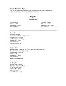 Who Can Be References On A Resume by Resume References Exles Berathen
